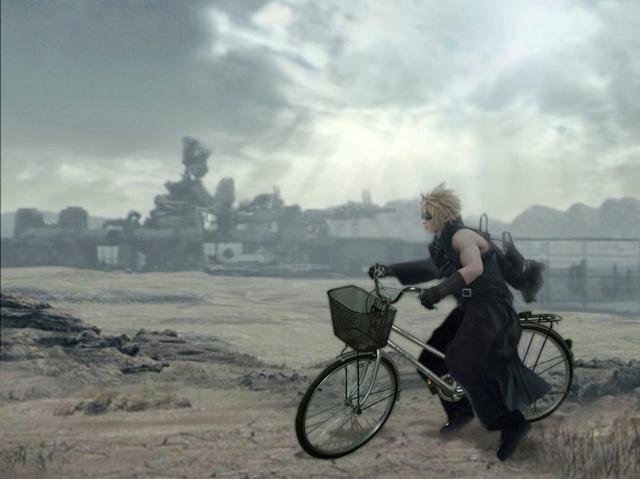 Siempre en favor del medio ambiente, nuestro heroe cambia su moto por una linda y masculina bicicleta...